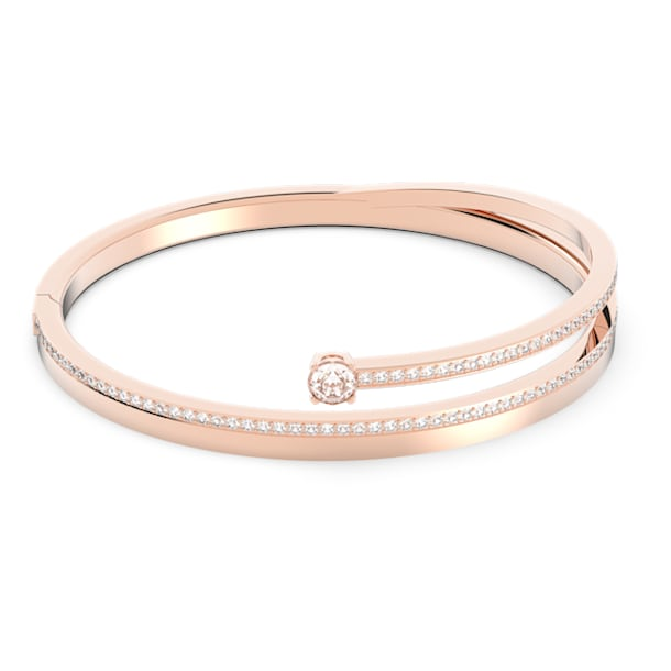 Fresh Жёсткий браслет, Белый Кристалл, Покрытие оттенка розового золота - Swarovski, 5257554