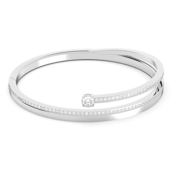 Fresh Bangle, White, Rhodium plated - Swarovski, 5257561