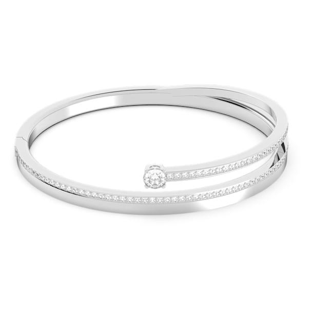 Pulseira bangle Fresh, branca, banhada a ródio - Swarovski, 5257561
