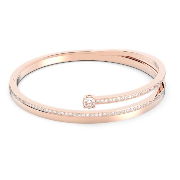 Pulseira bangle Fresh, branca, banhada com tom rosa dourado - Swarovski, 5257565