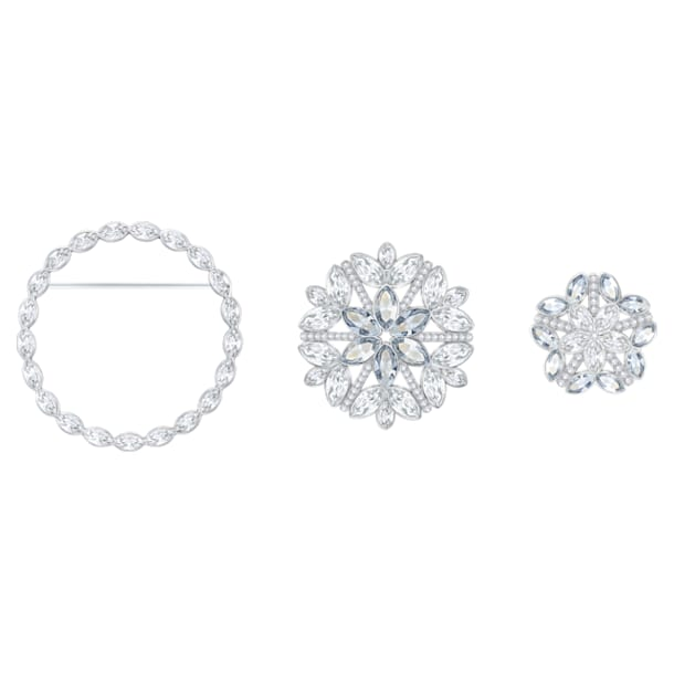 Ginette brooch, Set (3), White, Rhodium plated - Swarovski, 5262279