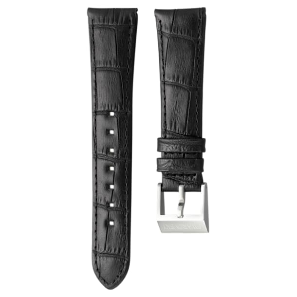 14mm Watch strap, Leather with stitching, Dark brown, Stainless Steel - Swarovski, 5263533