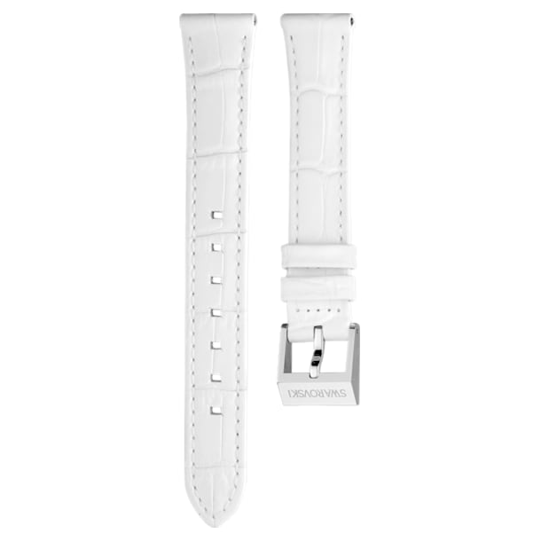 14mm Watch strap, Leather with stitching, White, Stainless Steel - Swarovski, 5263535