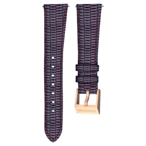 Cinturino per orologio 18mm, pelle con impunture, viola, placcato color oro rosa - Swarovski, 5263561
