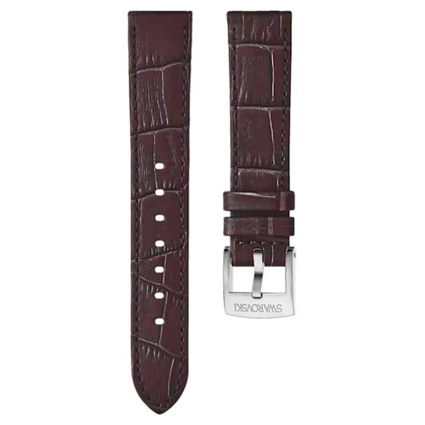 18 mm-es óraszíj, varrott bőr, sötétbarna, rozéarany árnyalatú bevonattal - Swarovski, 5263562