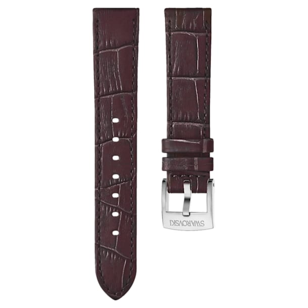 18mm Watch strap, Leather with stitching, Dark brown, Rose-gold tone plated - Swarovski, 5263562