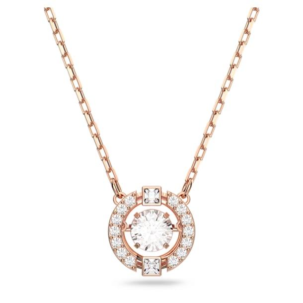 Swarovski Sparkling Dance necklace, Round, White, Rose-gold tone plated - Swarovski, 5272364
