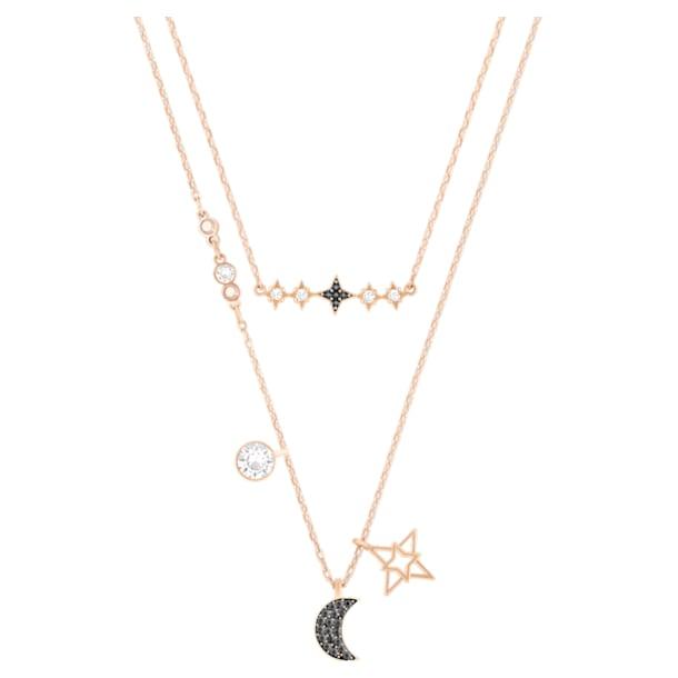 Swarovski Symbolic layered necklace, Set (2), Moon and star, Black, Rose-gold tone plated