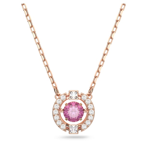 Swarovski Sparkling Dance Round Necklace, Red, Rose-gold tone plated - Swarovski, 5279421