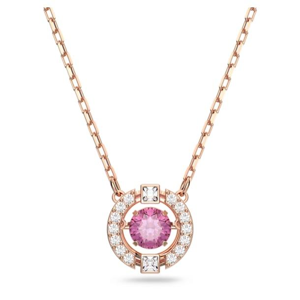 Swarovski Sparkling Dance necklace, Round, Red, Rose gold-tone plated - Swarovski, 5279421