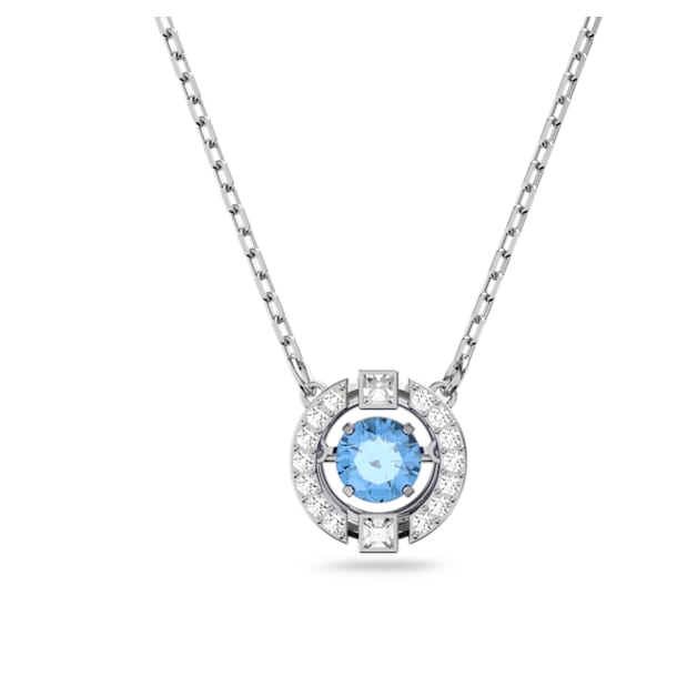Swarovski Sparkling Dance Round Necklace, Blue, Rhodium plated - Swarovski, 5279425