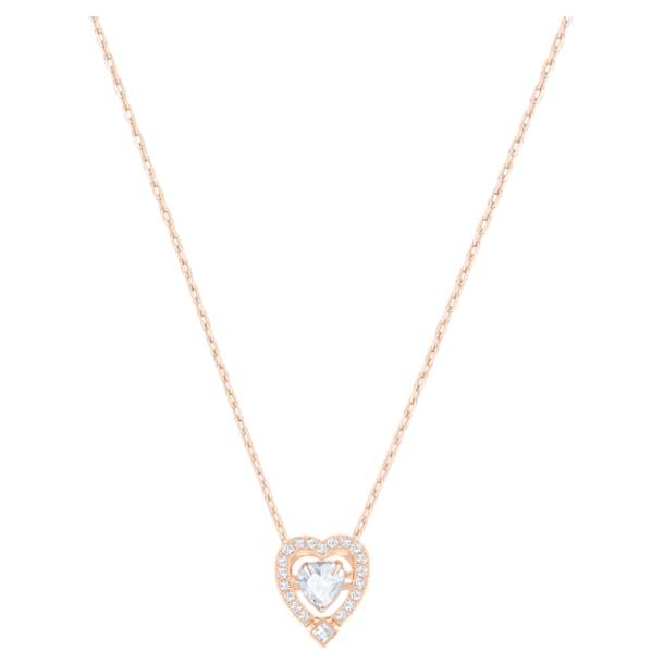 Swarovski Sparkling Dance necklace, Heart, White, Rose-gold tone plated - Swarovski, 5284188