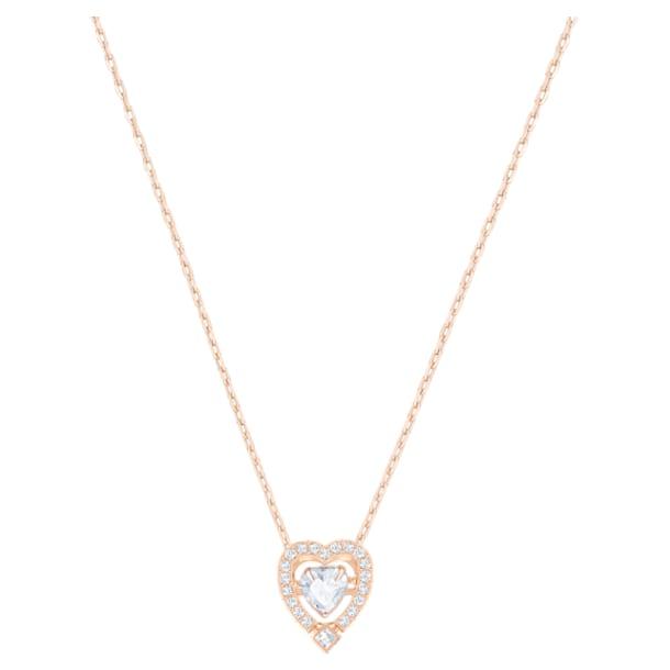 Náhrdelník Swarovski Sparkling Dance Heart, Bílý, Pozlacený růžovým zlatem - Swarovski, 5284188