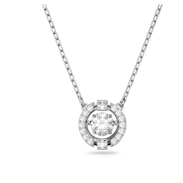 Swarovski Sparkling Dance necklace, Round, White, Rhodium plated - Swarovski, 5286137