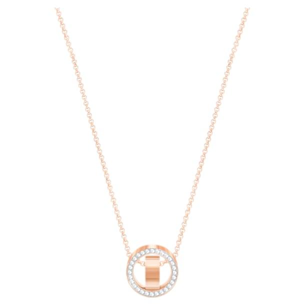 Μενταγιόν Hollow, λευκό, επιχρυσωμένο σε χρυσή ροζ απόχρωση - Swarovski, 5289495