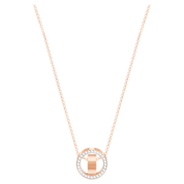 Hollow Pendant, White, Rose-gold tone plated - Swarovski, 5289495
