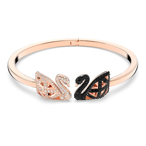 Bracelete Facet Swan, Cisne, Preto, Acabamento de combinação de metais - Swarovski, 5289535