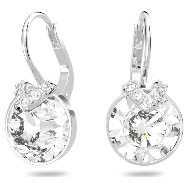 Bella V Pierced Earrings, White, Rhodium plated - Swarovski, 5292855