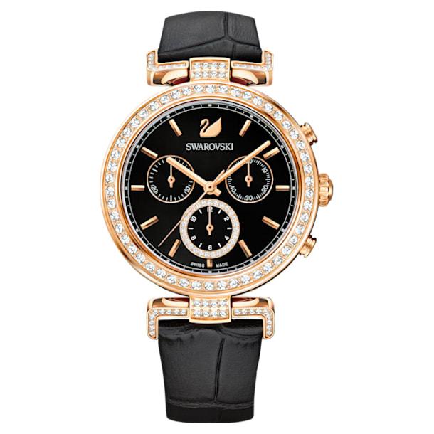 Zegarek Era Journey, pasek ze skóry, czarny, powłoka PVD w odcieniu różowego złota - Swarovski, 5295320