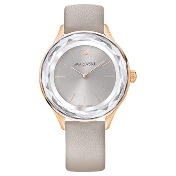 Zegarek Octea Nova, pasek ze skóry, szary, powłoka PVD w odcieniu różowego złota - Swarovski, 5295326