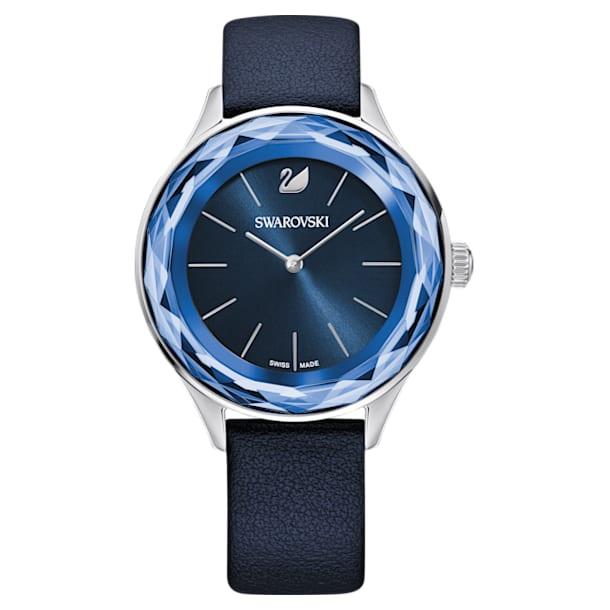 Zegarek Octea Nova, pasek ze skóry, niebieski, stal nierdzewna - Swarovski, 5295349