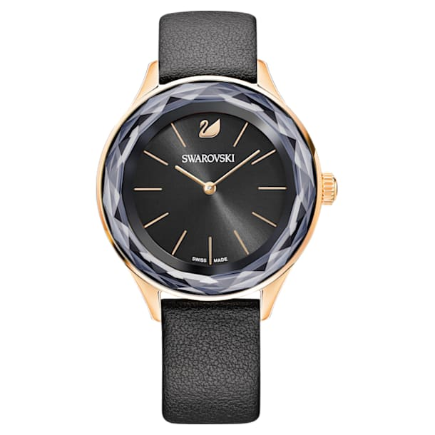 Octea Nova Watch, Leather strap, Black, Rose-gold tone PVD - Swarovski, 5295358