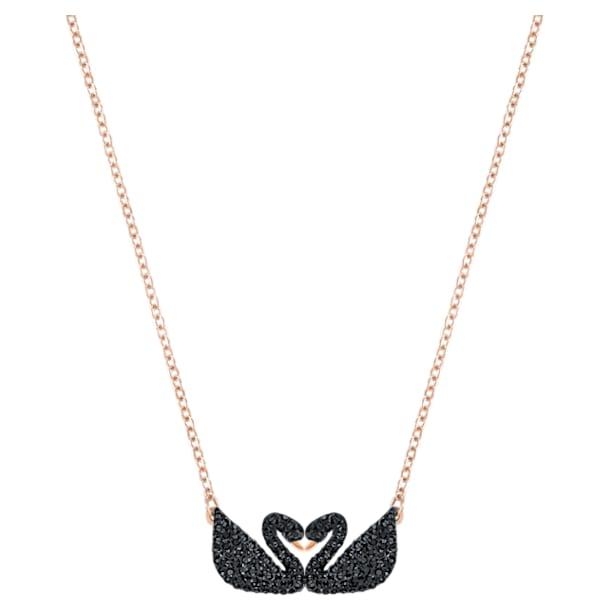 Swarovski Iconic Swan Necklace, Black, Rose-gold tone plated - Swarovski, 5296468