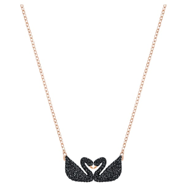 Swarovski Iconic Swan Колье, Лебедь, Черный кристалл, Покрытие оттенка розового золота - Swarovski, 5296468