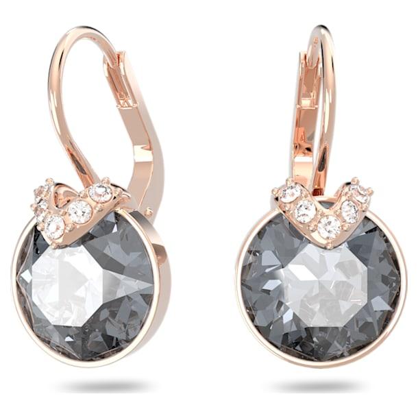 Bella V earrings, Round, Gray, Rose gold-tone plated - Swarovski, 5299317