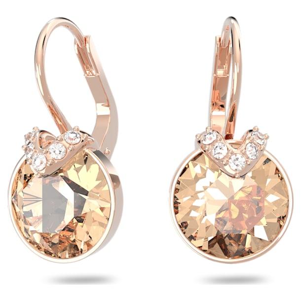 Bella V earrings, Round, Pink, Rose gold-tone plated - Swarovski, 5299318