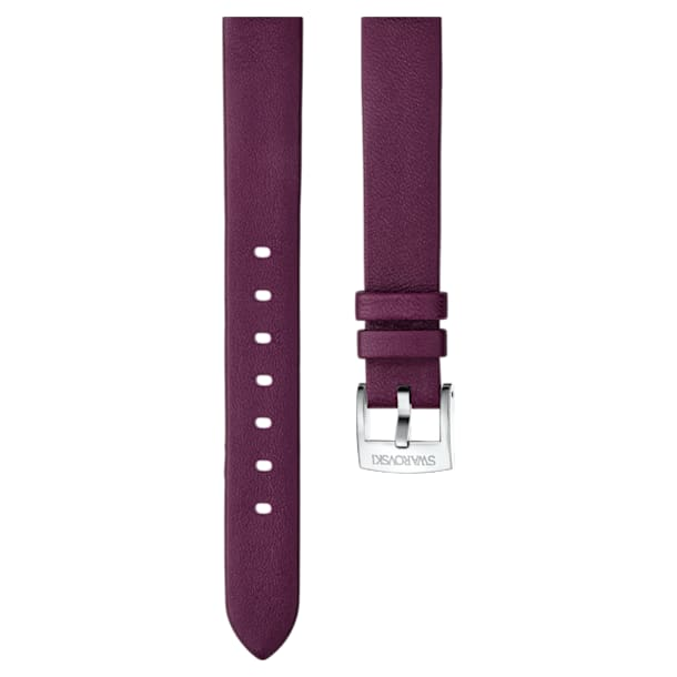 14mm Watch strap, Leather, Dark red, Stainless Steel - Swarovski, 5301923