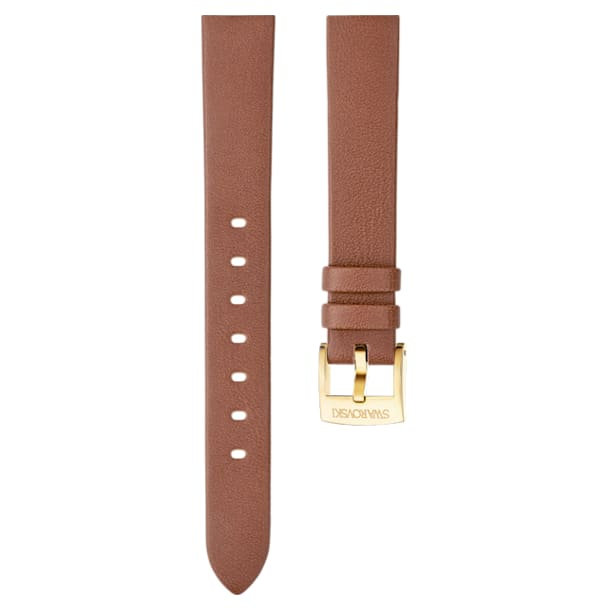 14mm Watch strap, Leather, Brown, Gold-tone plated - Swarovski, 5301924