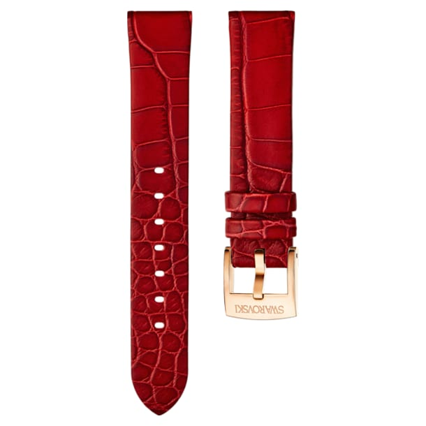 18mm Watch strap, Leather, Red, Rose-gold tone plated - Swarovski, 5302064