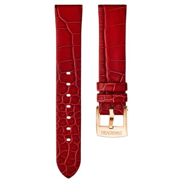 Pasek do zegarka 18 mm, skóra, czerwony, w odcieniu różowego złota - Swarovski, 5302064