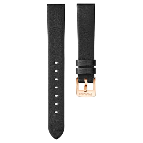 16mm Watch strap, Leather, Black, Rose-gold tone plated - Swarovski, 5302280
