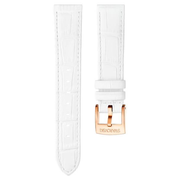 18mm Watch strap, Leather with stitching, White, Rose-gold tone plated - Swarovski, 5302458
