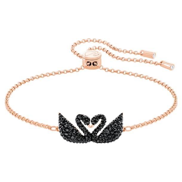Swarovski Iconic Swan 手链, 黑色, 镀玫瑰金色调 - Swarovski, 5344132