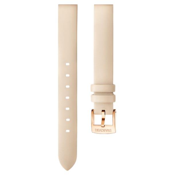 12mm Watch strap, Leather, Beige, Rose-gold tone plated - Swarovski, 5345630
