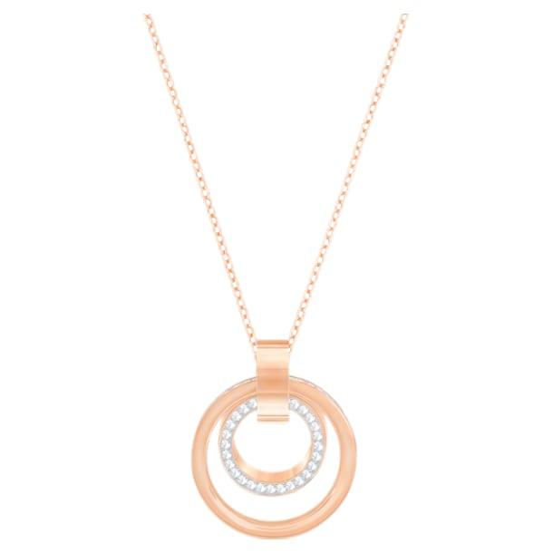 Μενταγιόν Hollow, λευκό, επιχρυσωμένο σε χρυσή ροζ απόχρωση - Swarovski, 5349418