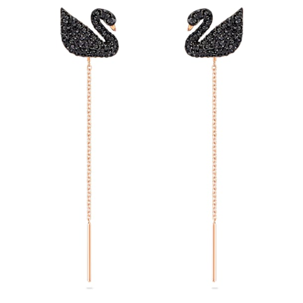 Swarovski Iconic Swan earrings, Swan, Black, Rose-gold tone plated - Swarovski, 5351805