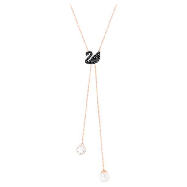 Swarovksi ikonikus hattyú Y nyaklánc, fekete, rozéarany árnyalatú bevonattal - Swarovski, 5351806