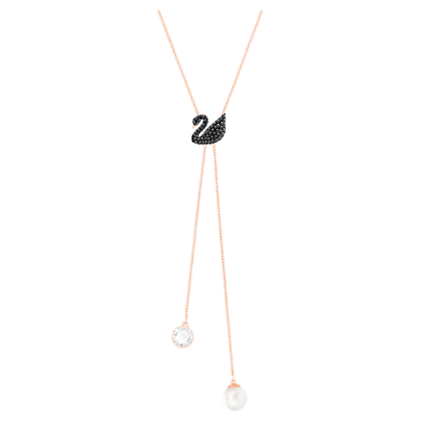 Swarovski Iconic Swan Y Necklace, Black, Rose-gold tone plated - Swarovski, 5351806