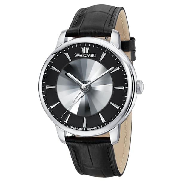 Męski zegarek automatyczny Atlantis z limitowanej edycji, pasek ze skóry, czarny, stal nierdzewna - Swarovski, 5364209