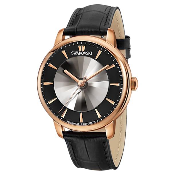 Reloj automático Atlantis para hombre edición limitada, Correa de piel, negro, PVD en tono Oro Rosa - Swarovski, 5364212