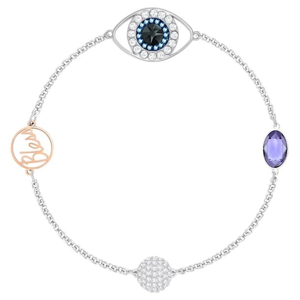 Řetízek se symbolem modrého oka, Fialový, Smíšená kovová úprava - Swarovski, 5365749