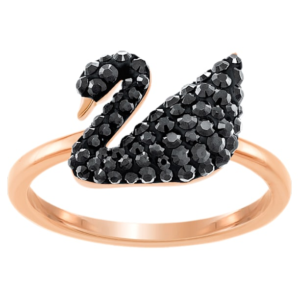 Swarovski Iconic Swan Ring, Black, Rose-gold tone plated - Swarovski, 5366585