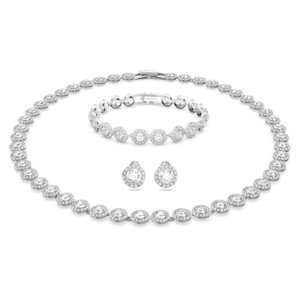 Sada s náhrdelníkem Angelic, Bílá, Rhodiem pokovená - Swarovski, 5367853