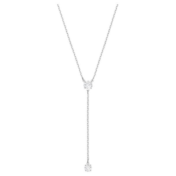 Attract Y形項鏈, 白色, 鍍白金色 - Swarovski, 5367969