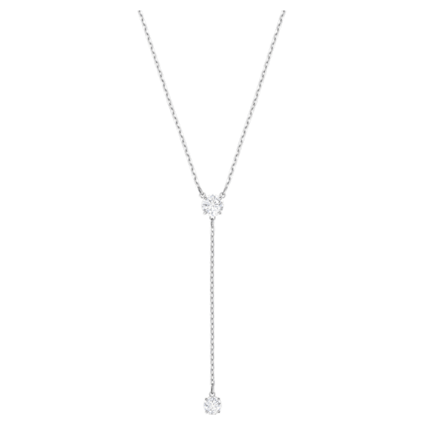 Attract Y Necklace, White, Rhodium plated - Swarovski, 5367969