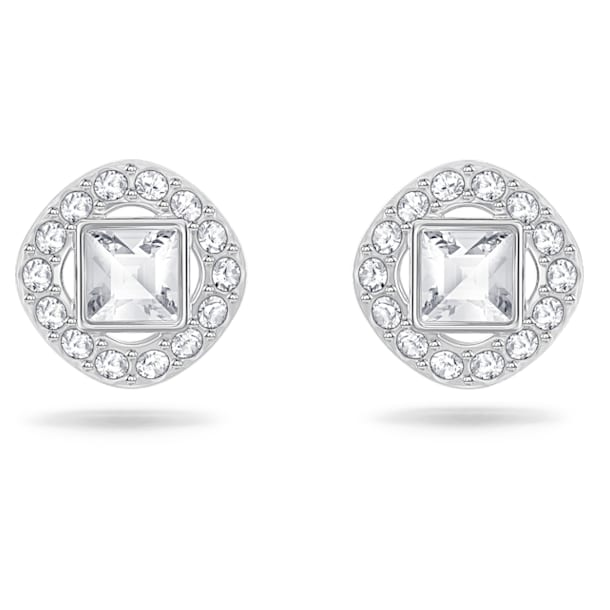Angelic earrings, Square, White, Rhodium plated - Swarovski, 5368146